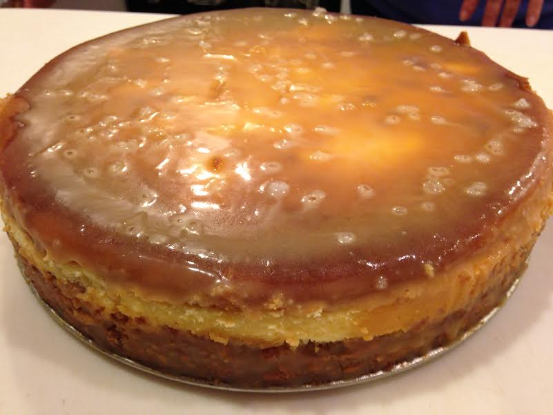 Pretzel Crust salted caramel frosted cheesecake