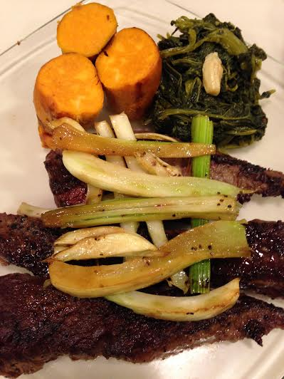 Pan fried sirloin tips with braised fennel. Sweet potatoes and broccoli rabe