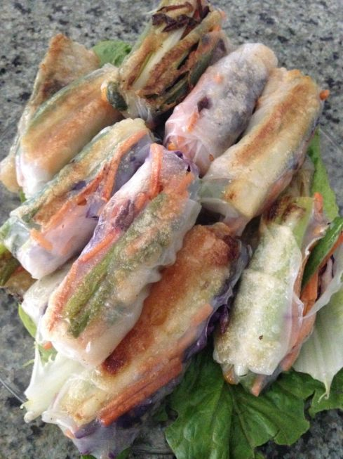 seared rice paper roll ups